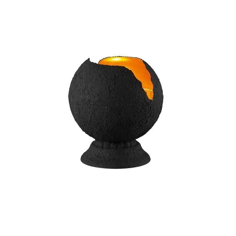 tischleuchte in kugelform oberfl che strukturiert schwarz. Black Bedroom Furniture Sets. Home Design Ideas