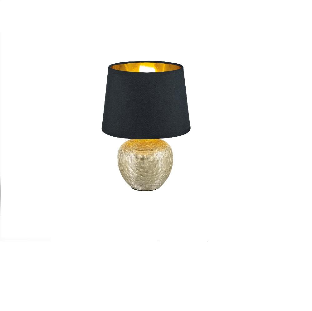 tischleuchte luxor vase gold schirm in schwarz innen. Black Bedroom Furniture Sets. Home Design Ideas