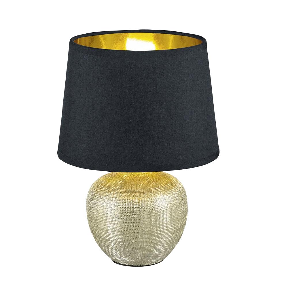 tischleuchte luxor vase gold schirm schwarz h 26cm wohnlicht. Black Bedroom Furniture Sets. Home Design Ideas