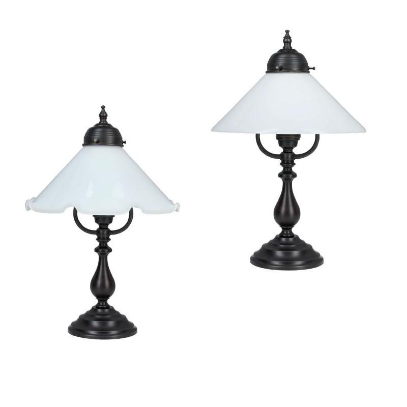 tischleuchte in messing antik mit opalglasschirm wohnlicht. Black Bedroom Furniture Sets. Home Design Ideas
