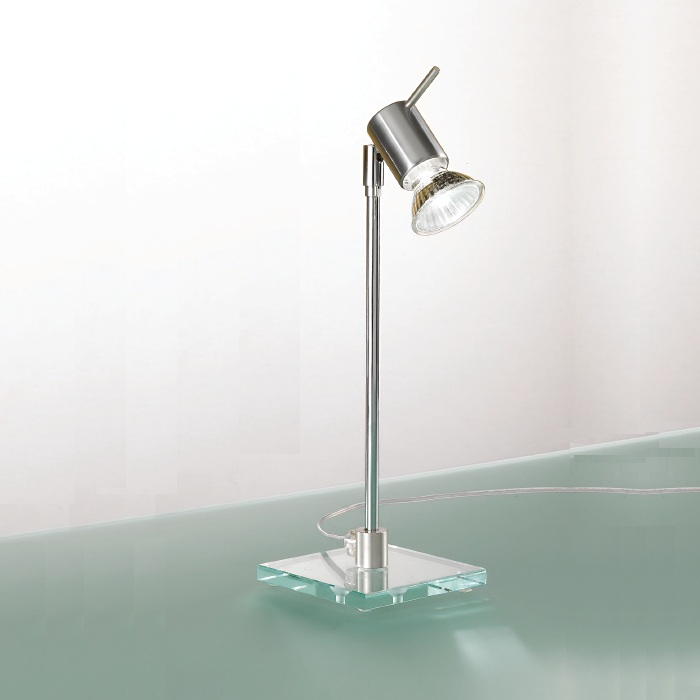tischleuchte mit glasfu und strahler zum verstellen wohnlicht. Black Bedroom Furniture Sets. Home Design Ideas