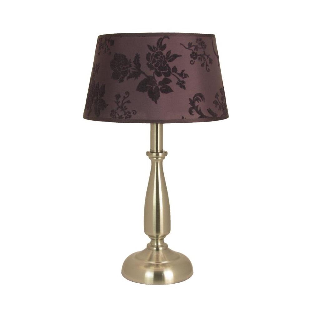 tischleuchte mit purple stoffschirm h he 44cm wohnlicht. Black Bedroom Furniture Sets. Home Design Ideas