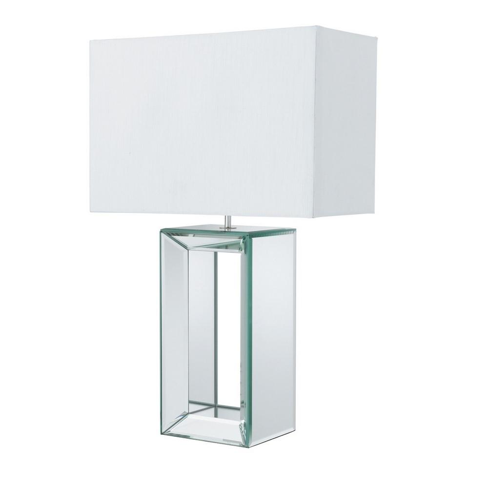 tischleuchte mit spiegelglas und stoffschirm in 2 farben wohnlicht. Black Bedroom Furniture Sets. Home Design Ideas