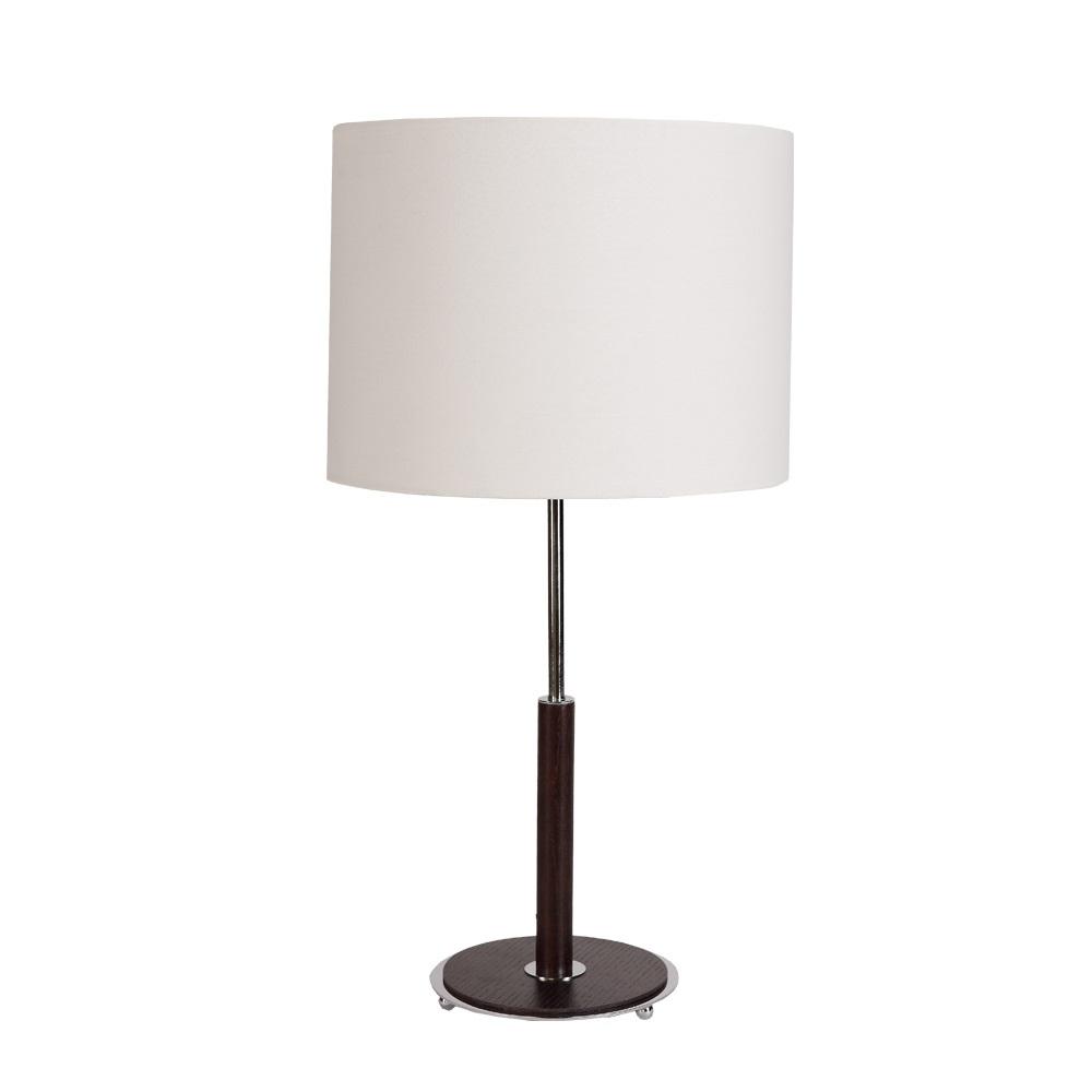 tischleuchte mit stofflampenschirm und holzfu nussbaum wohnlicht. Black Bedroom Furniture Sets. Home Design Ideas
