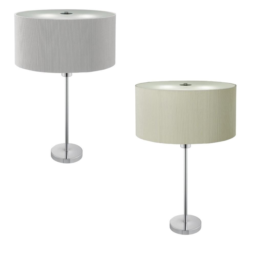tischleuchte mit stoffschirm in grau oder creme wohnlicht. Black Bedroom Furniture Sets. Home Design Ideas