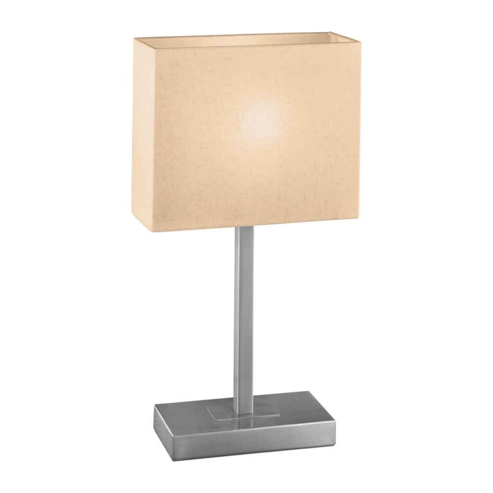 tischleuchte mit touchdimmer in nickel matt stoffschirm. Black Bedroom Furniture Sets. Home Design Ideas
