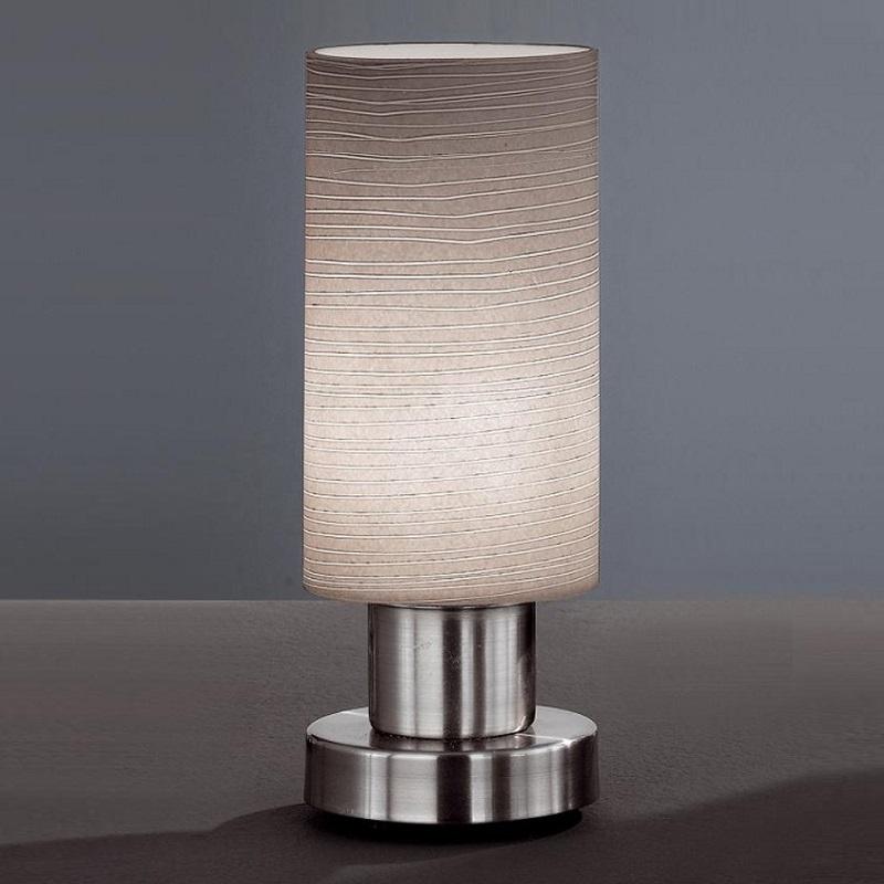 tischleuchte in nickel matt glas grau gewischt wohnlicht. Black Bedroom Furniture Sets. Home Design Ideas