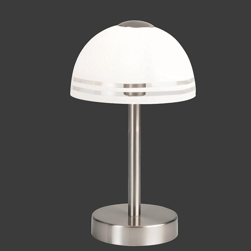 tischleuchte in nickel matt mit teilsatiniertem glas wohnlicht. Black Bedroom Furniture Sets. Home Design Ideas