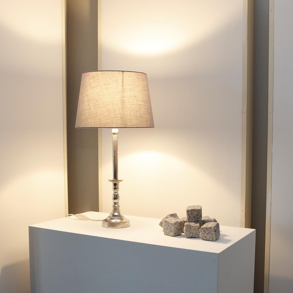 tischleuchte silber schirm grau wohnlicht. Black Bedroom Furniture Sets. Home Design Ideas