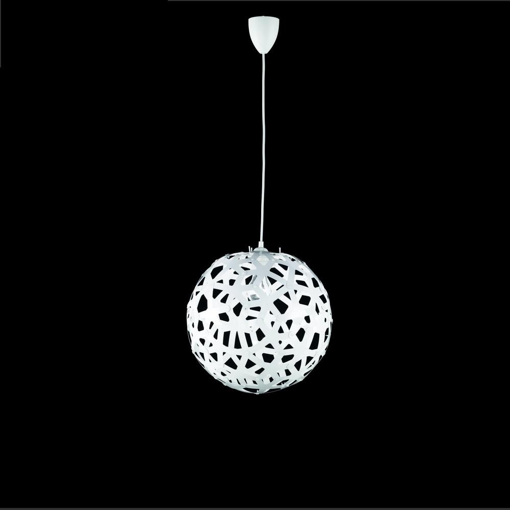 Trendige pendelleuchte aus kunststoff in kugelform wei for Trendige wohnaccessoires