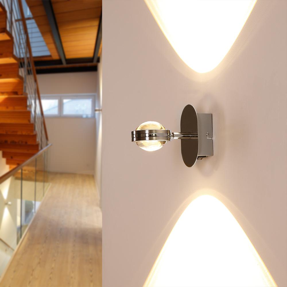 up down led wandleuchte in chrom mit schalter wohnlicht. Black Bedroom Furniture Sets. Home Design Ideas