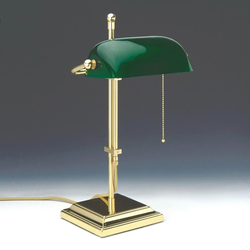 verstellbare bankerslamp messing poliert glas in 3 farben wohnlicht. Black Bedroom Furniture Sets. Home Design Ideas