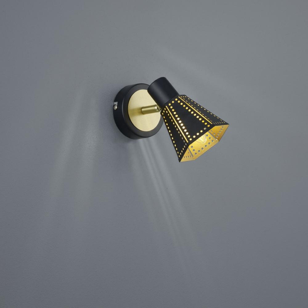 wandlampe houston schwarz matt gold wohnlicht. Black Bedroom Furniture Sets. Home Design Ideas