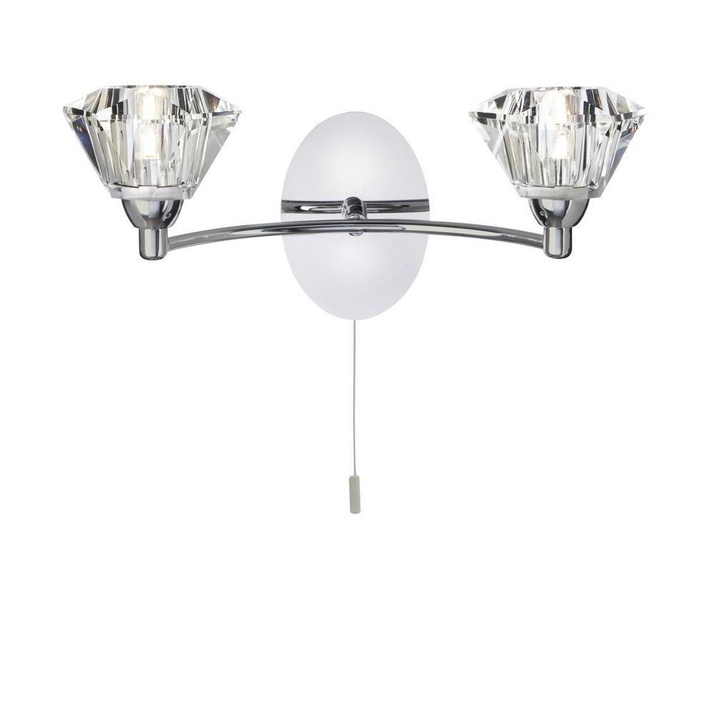 wandleuchte 2 flammig mit kristallglas in 2 oberfl chen wohnlicht. Black Bedroom Furniture Sets. Home Design Ideas