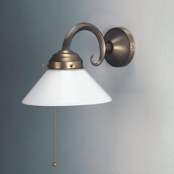 wandleuchte in altmessing mit zugschalter und opalglas 17 cm wohnlicht. Black Bedroom Furniture Sets. Home Design Ideas