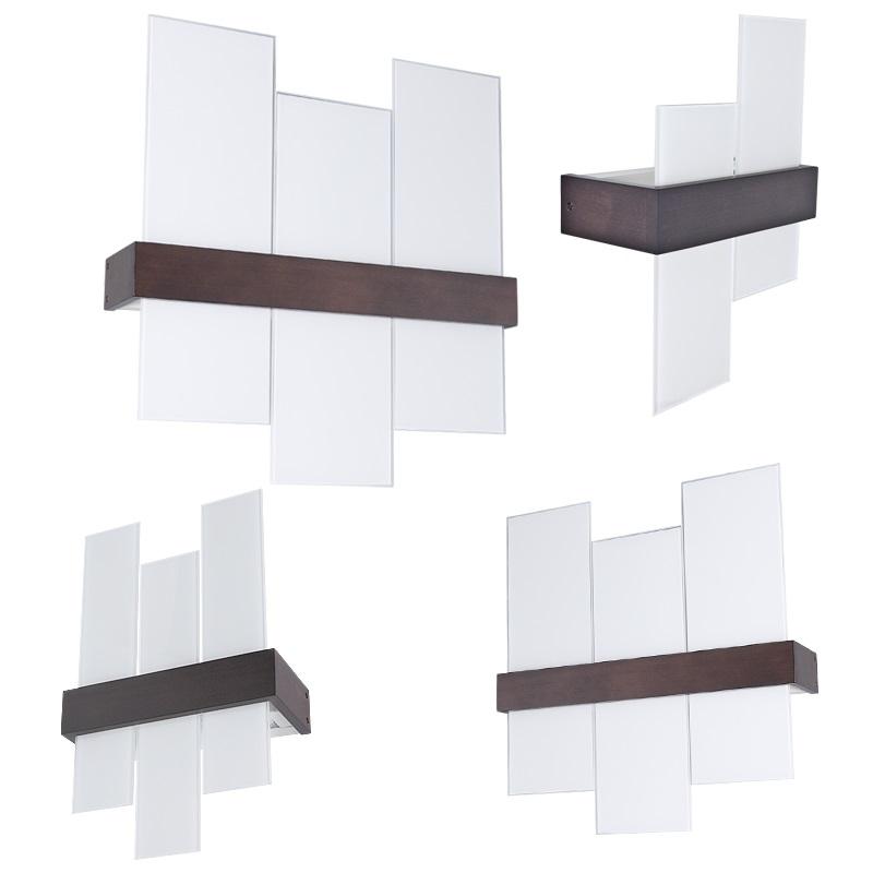 wandleuchte aus weng farbenem holz mit wei em glas wohnlicht. Black Bedroom Furniture Sets. Home Design Ideas