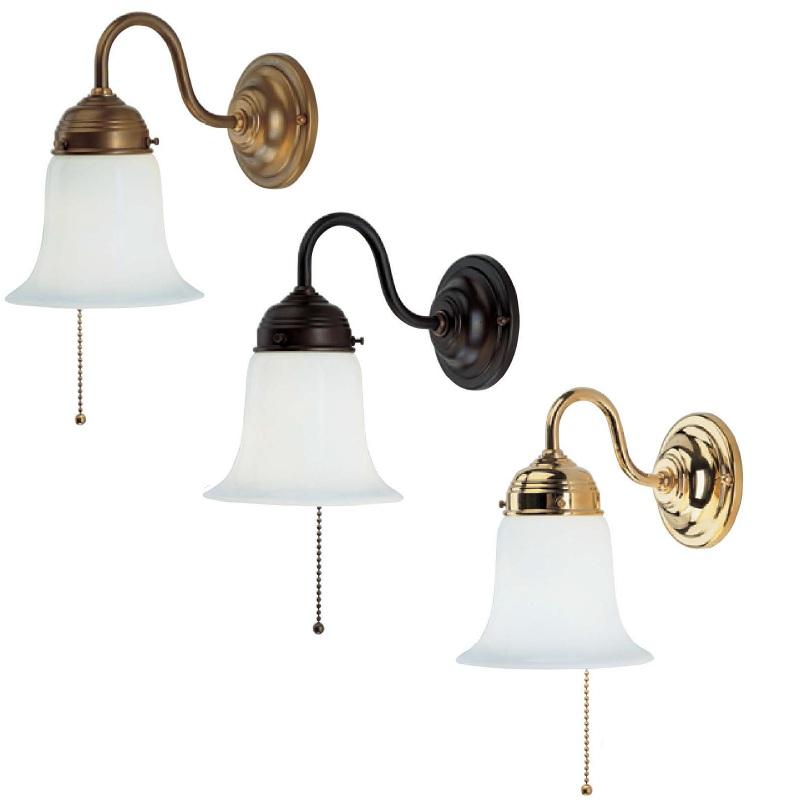 Wandleuchte in berliner messing antik oder poliert mit opalglas und zugschalter wohnlicht - Wandlampe mit zugschalter ...
