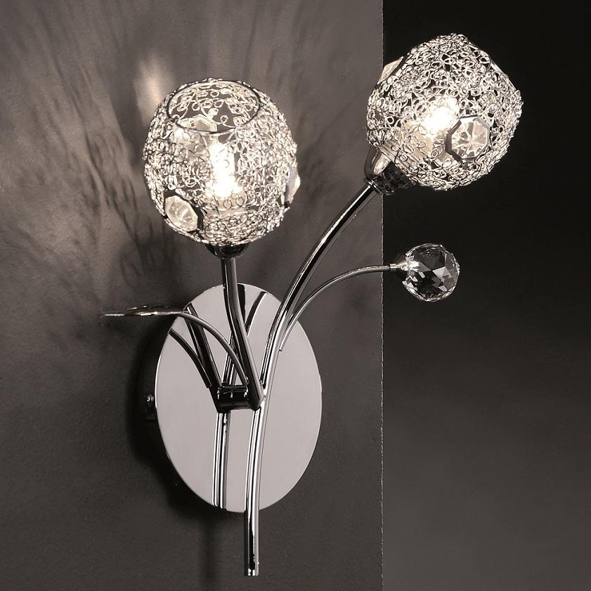 wandleuchte chrom drahtgeflecht glaskristalle 2 flg. Black Bedroom Furniture Sets. Home Design Ideas