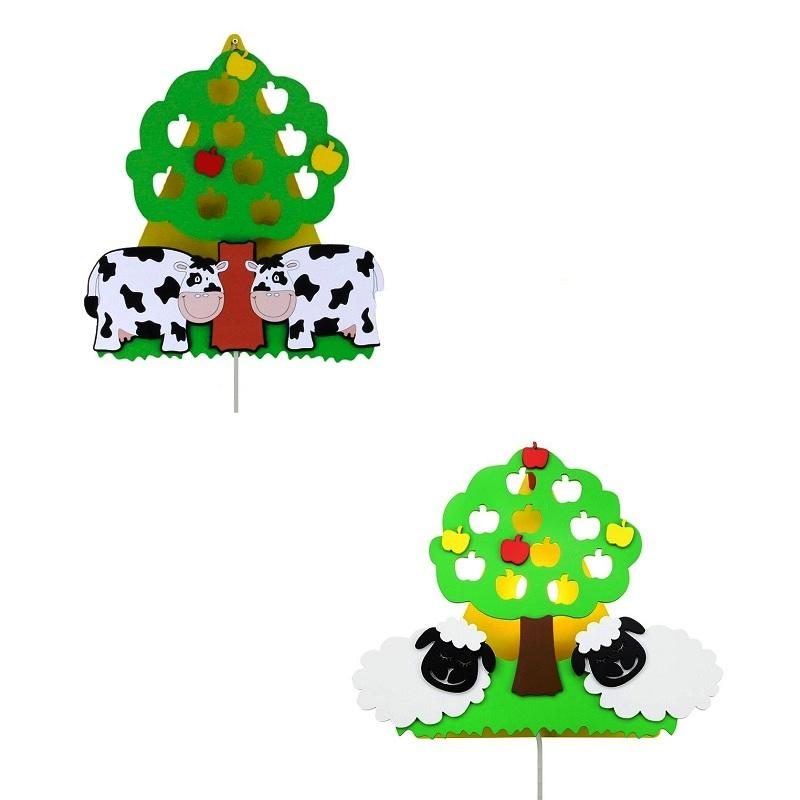 wandleuchte f rs kinderzimmer mit apfelbaum mit k he oder schafe wohnlicht. Black Bedroom Furniture Sets. Home Design Ideas