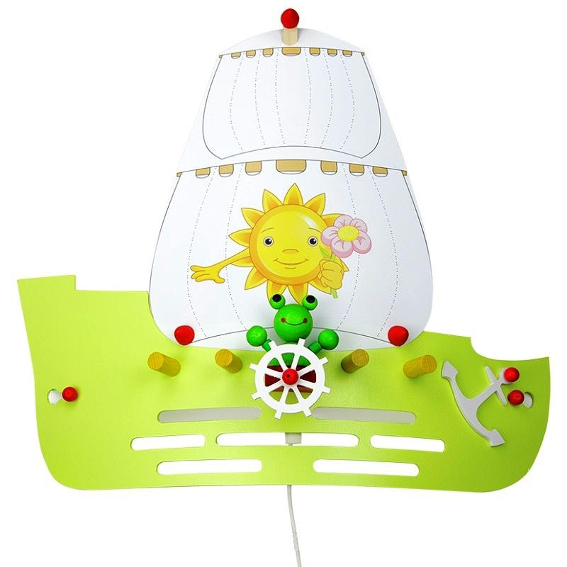 wandleuchte f rs kinderzimmer segelschiff mit frosch wohnlicht. Black Bedroom Furniture Sets. Home Design Ideas