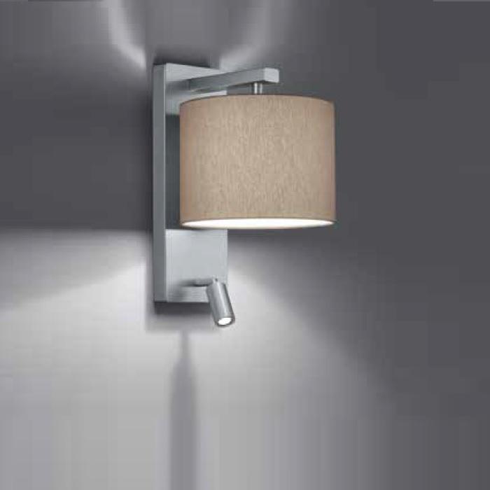wandleuchte forca mit stoffschirm und leselicht wohnlicht. Black Bedroom Furniture Sets. Home Design Ideas