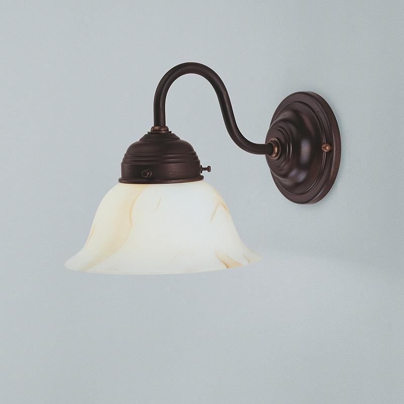 wandleuchte in messing antik mit marmoriertem glasschirm 16cm wohnlicht. Black Bedroom Furniture Sets. Home Design Ideas