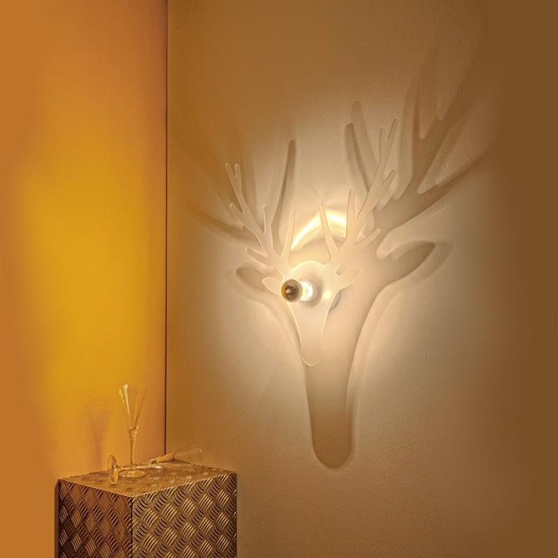 wandleuchte mit effektvollem schattenspiel in form eines hirsches mit oder ohne. Black Bedroom Furniture Sets. Home Design Ideas