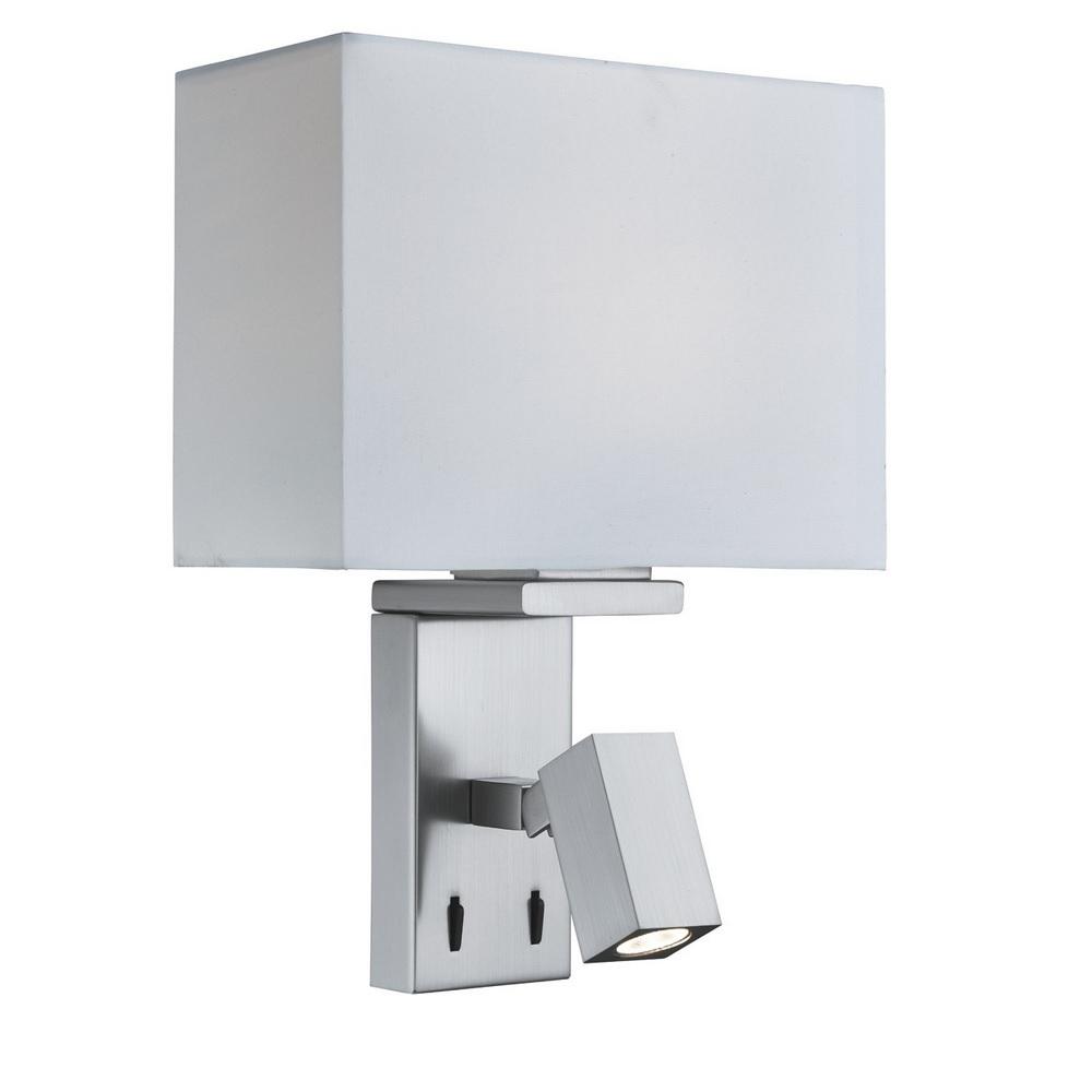 wandleuchte mit led leuchtenarm in silber satiniert wohnlicht. Black Bedroom Furniture Sets. Home Design Ideas