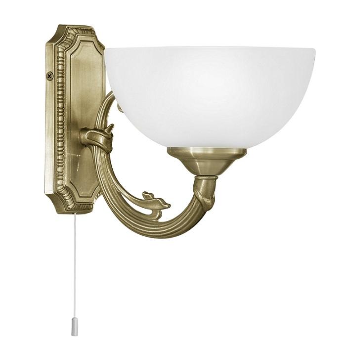wandleuchte mit zugschalter br niert glas satiniert weiss wohnlicht. Black Bedroom Furniture Sets. Home Design Ideas