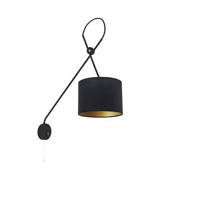 wandleuchte viper mit stoffschirm schwarz oder wei wohnlicht. Black Bedroom Furniture Sets. Home Design Ideas