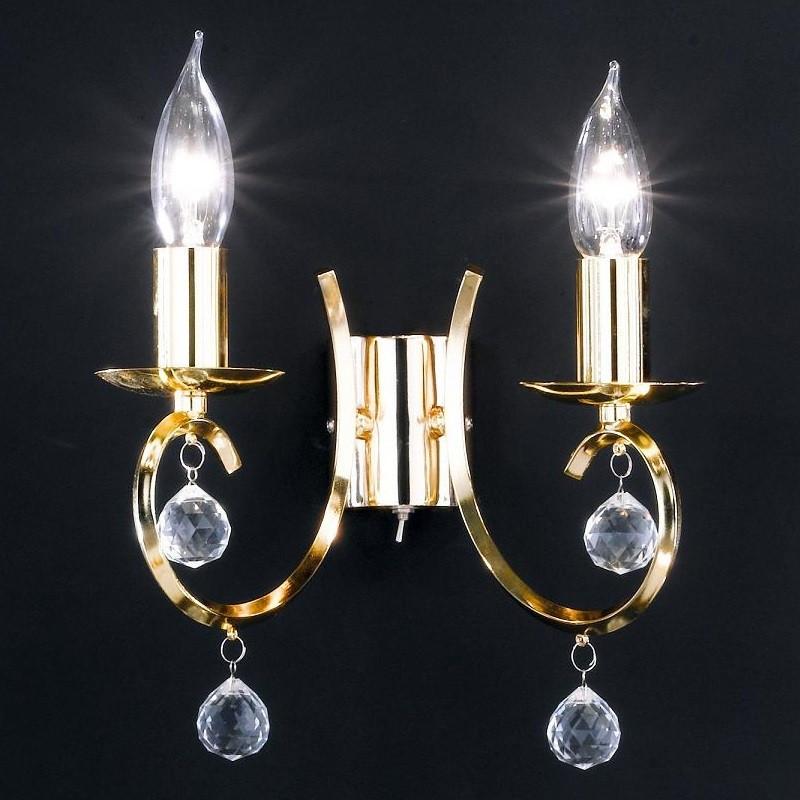 wandleuchte 2 flammig messing poliert mit klarem glasbehang wohnlicht. Black Bedroom Furniture Sets. Home Design Ideas