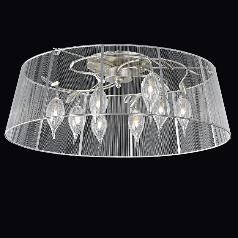 zauberhafte leuchtenserie deckenleuchte stoffschirm mundgeblasenes muranoglas 50 cm. Black Bedroom Furniture Sets. Home Design Ideas