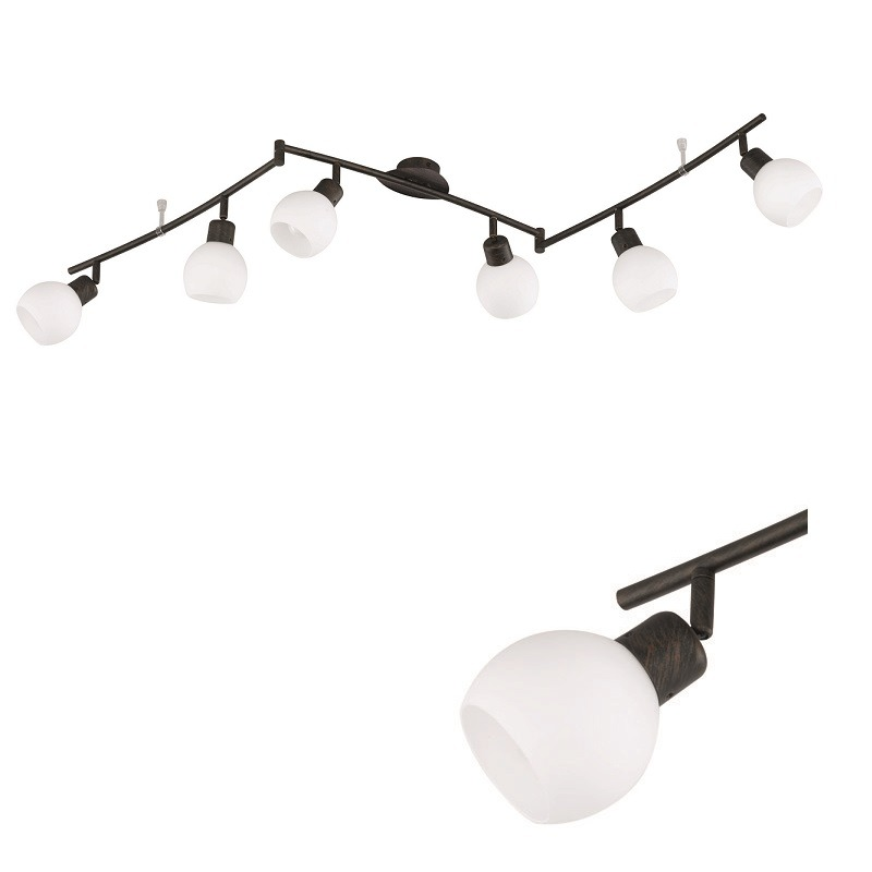 zeitloser led deckenstrahler 6 flammig rostfarbig antik 6x 4 watt rost rostbraun antik. Black Bedroom Furniture Sets. Home Design Ideas